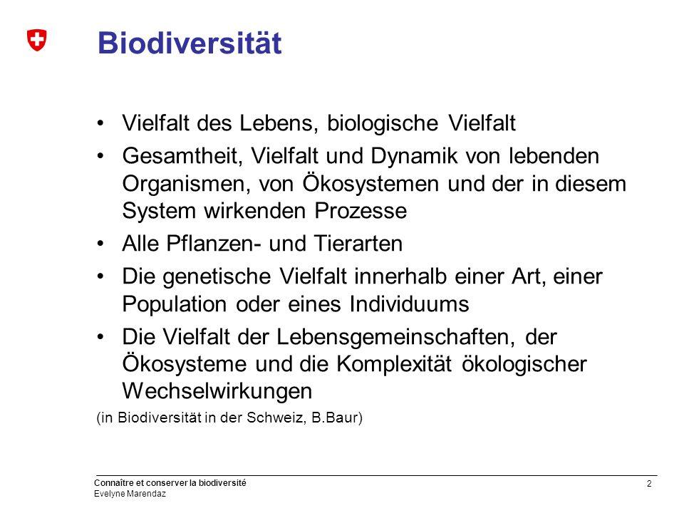 2 Connaître et conserver la biodiversité Evelyne Marendaz Biodiversität Vielfalt des Lebens, biologische Vielfalt Gesamtheit, Vielfalt und Dynamik von
