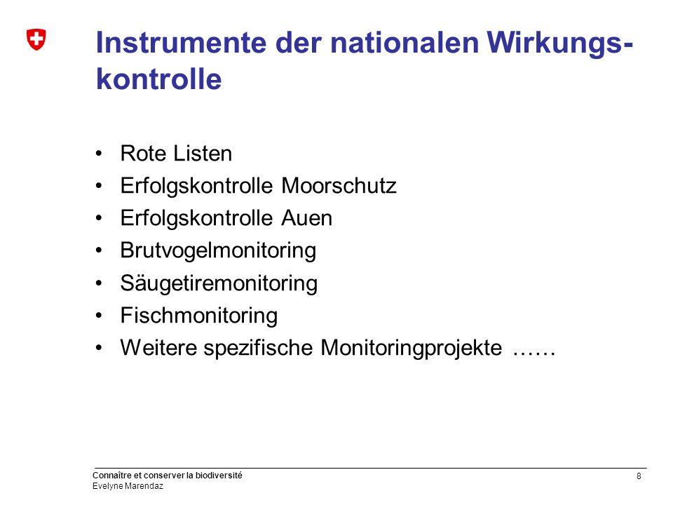 8 Connaître et conserver la biodiversité Evelyne Marendaz Instrumente der nationalen Wirkungs- kontrolle Rote Listen Erfolgskontrolle Moorschutz Erfol
