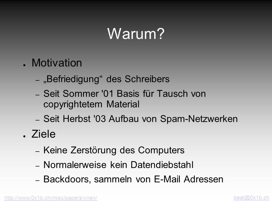 Warum? Motivation – Befriedigung des Schreibers – Seit Sommer '01 Basis für Tausch von copyrightetem Material – Seit Herbst '03 Aufbau von Spam-Netzwe