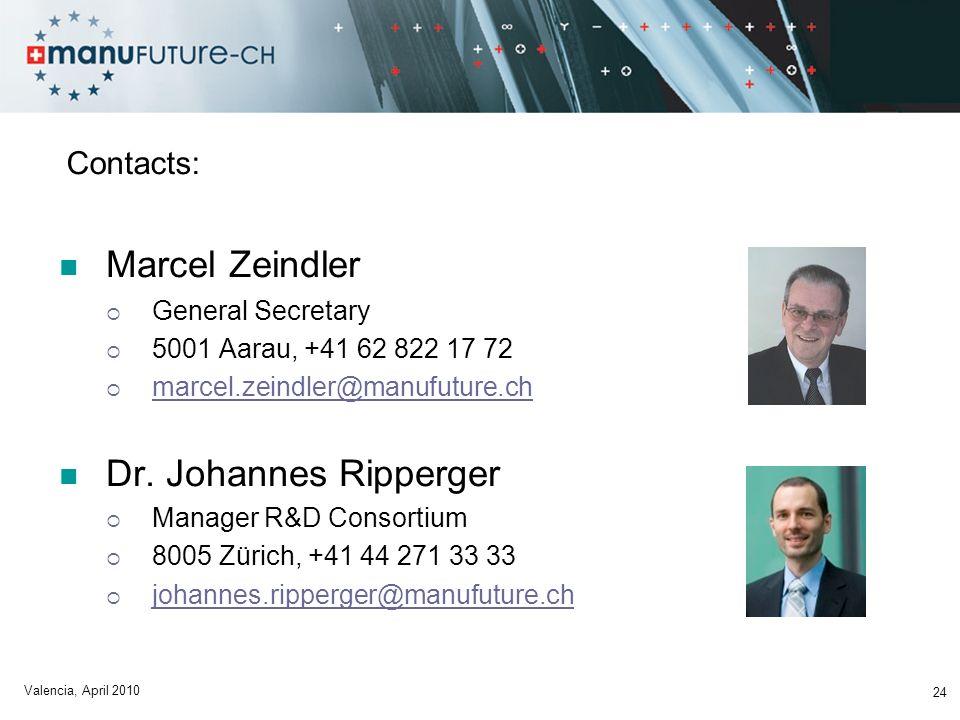 Contacts: Marcel Zeindler General Secretary 5001 Aarau, +41 62 822 17 72 marcel.zeindler@manufuture.ch Dr.