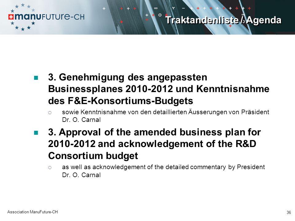 Traktandenliste / Agenda 3. Genehmigung des angepassten Businessplanes 2010-2012 und Kenntnisnahme des F&E-Konsortiums-Budgets sowie Kenntnisnahme von