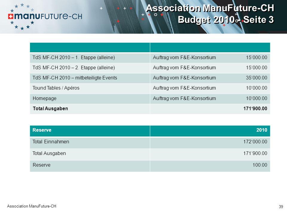 Association ManuFuture-CH Budget 2010 - Seite 3 TdS MF-CH 2010 – 1.