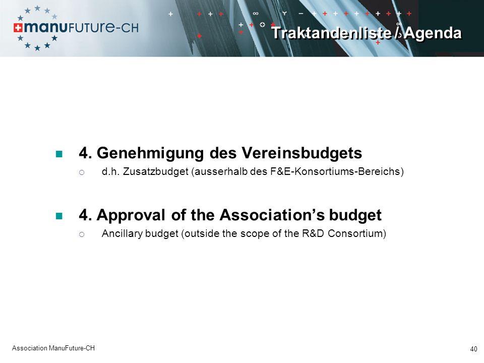 Traktandenliste / Agenda 4.Genehmigung des Vereinsbudgets d.h.