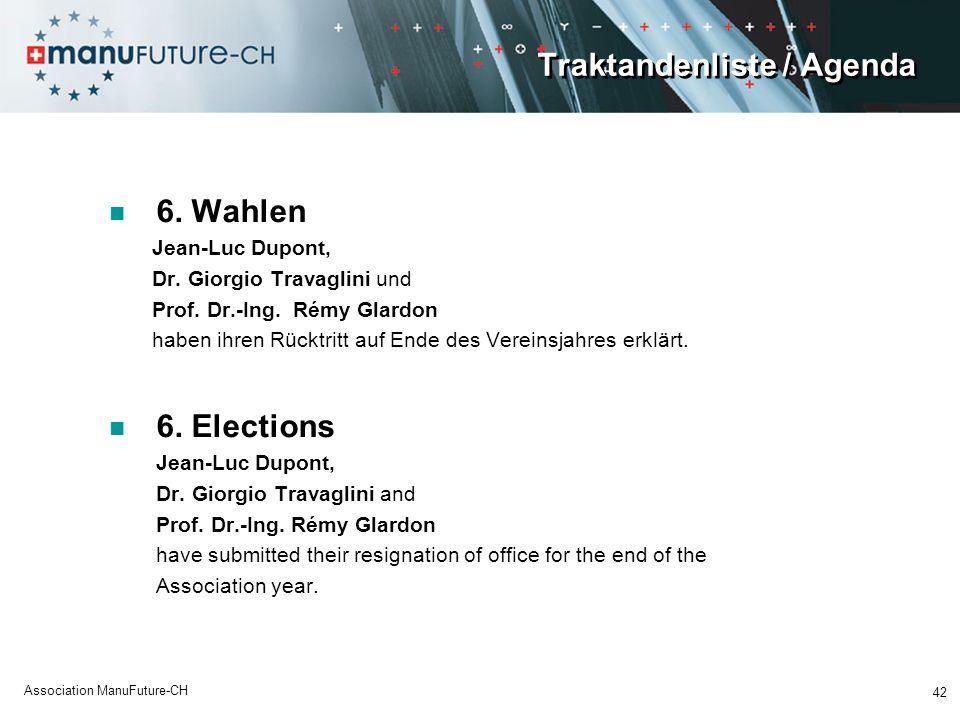 Traktandenliste / Agenda 6. Wahlen Jean-Luc Dupont, Dr. Giorgio Travaglini und Prof. Dr.-Ing. Rémy Glardon haben ihren Rücktritt auf Ende des Vereinsj