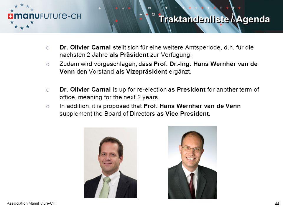 Traktandenliste / Agenda Dr. Olivier Carnal stellt sich für eine weitere Amtsperiode, d.h. für die nächsten 2 Jahre als Präsident zur Verfügung. Zudem