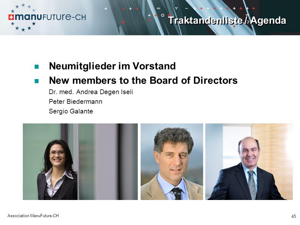 Traktandenliste / Agenda Neumitglieder im Vorstand New members to the Board of Directors Dr.