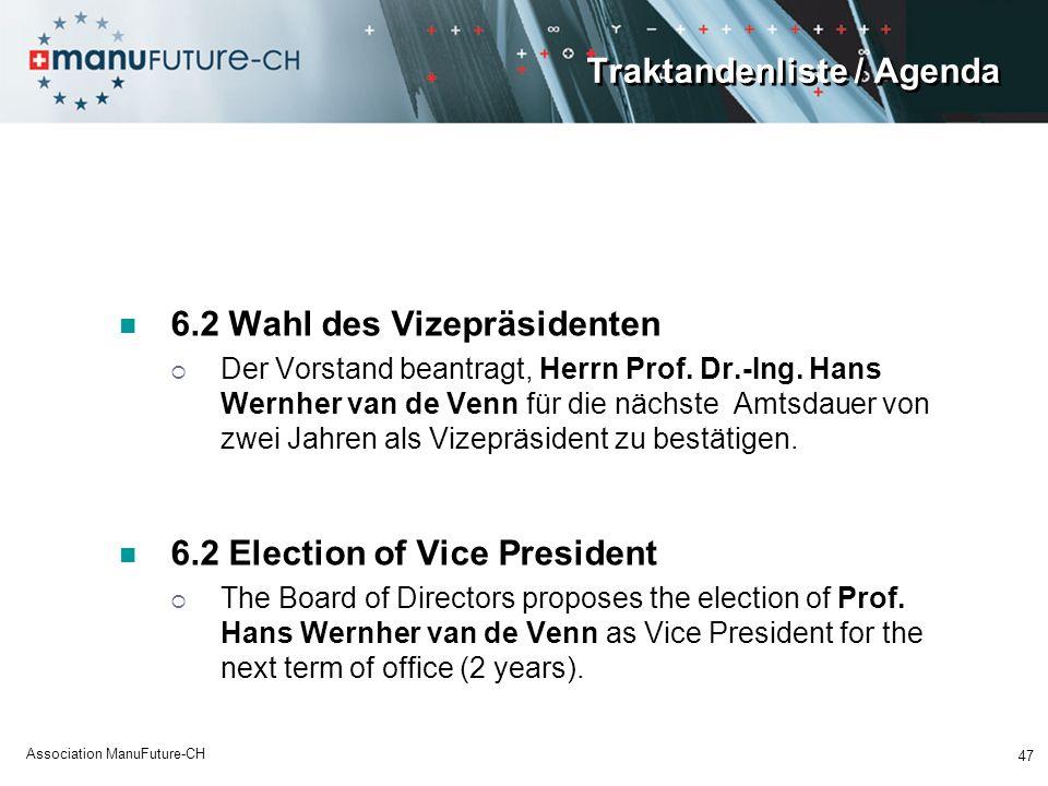 Traktandenliste / Agenda 6.2 Wahl des Vizepräsidenten Der Vorstand beantragt, Herrn Prof. Dr.-Ing. Hans Wernher van de Venn für die nächste Amtsdauer