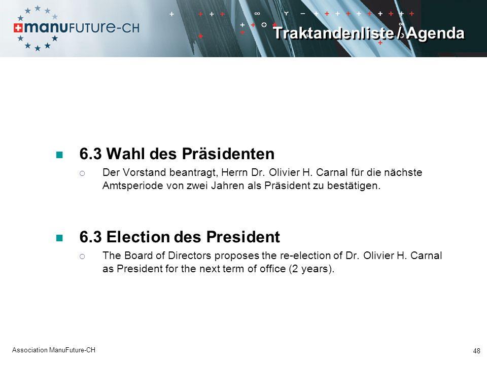 Traktandenliste / Agenda 6.3 Wahl des Präsidenten Der Vorstand beantragt, Herrn Dr. Olivier H. Carnal für die nächste Amtsperiode von zwei Jahren als