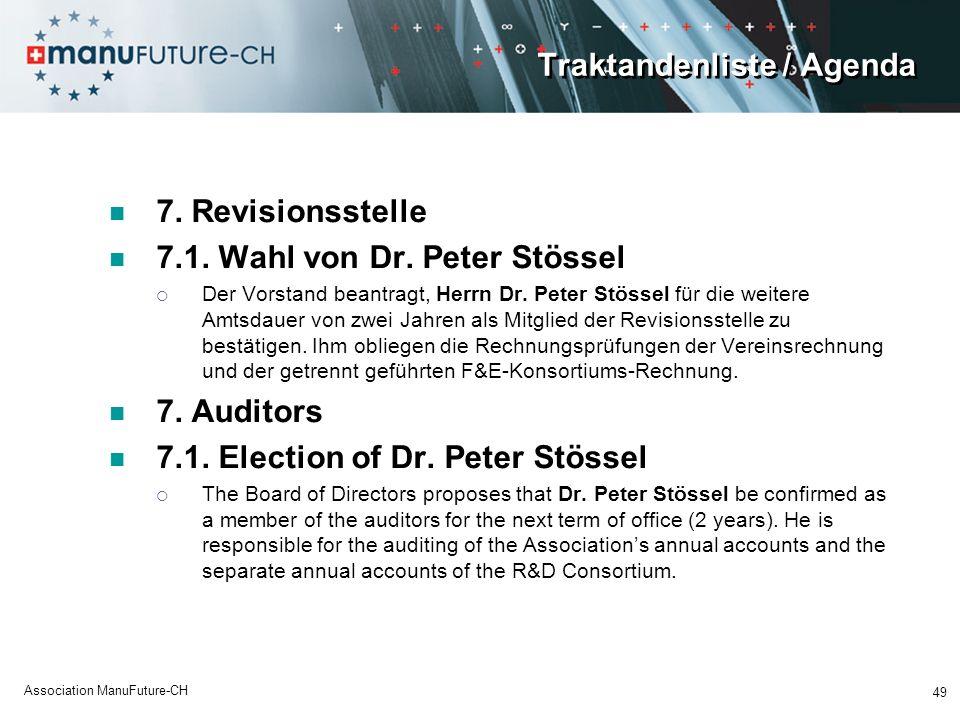 Traktandenliste / Agenda 7. Revisionsstelle 7.1. Wahl von Dr. Peter Stössel Der Vorstand beantragt, Herrn Dr. Peter Stössel für die weitere Amtsdauer