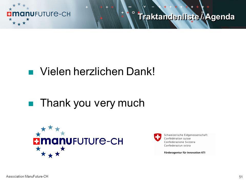 Traktandenliste / Agenda Vielen herzlichen Dank! Thank you very much 51 Association ManuFuture-CH