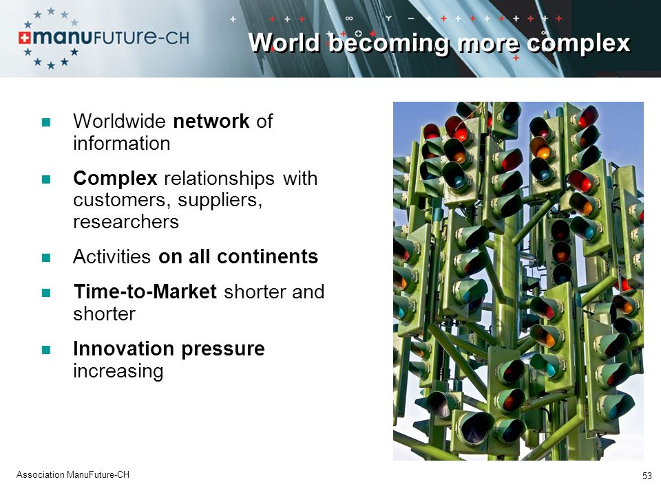53 Association ManuFuture-CH World becoming more complex Worldwide network of information Complex relationships with customers, suppliers, researchers Activities on all continents Time-to-Market shorter and shorter Innovation pressure increasing
