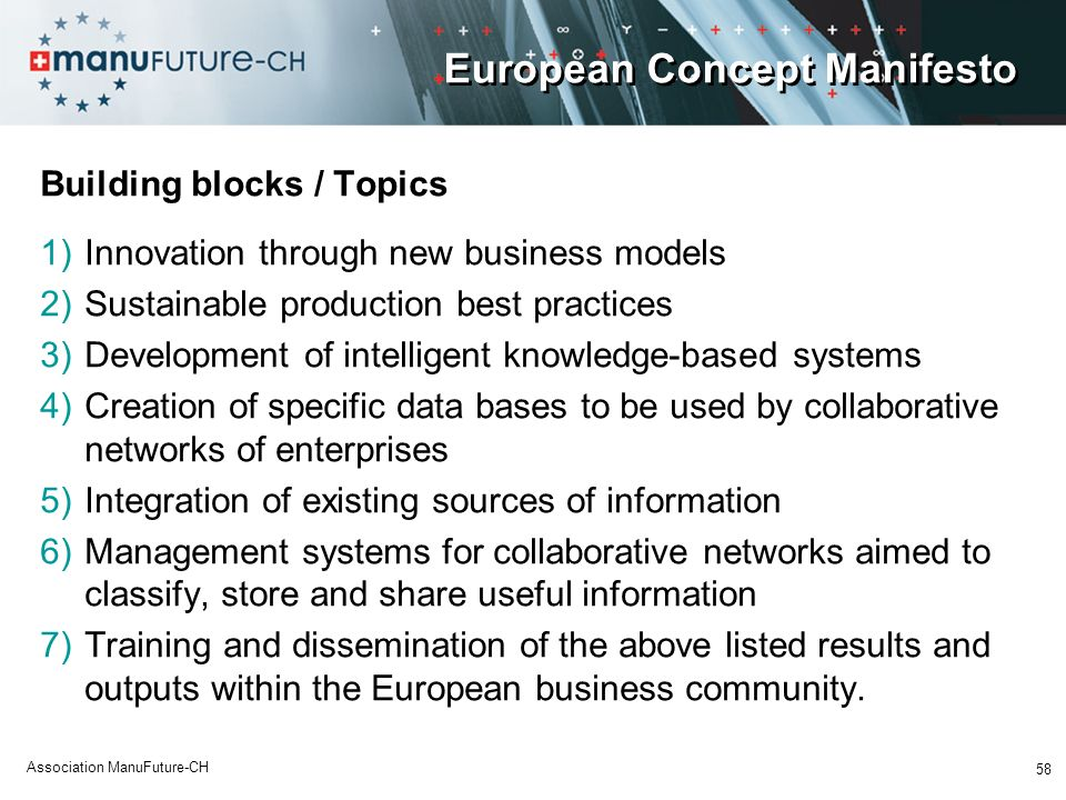 58 Association ManuFuture-CH European Concept Manifesto Building blocks / Topics 1)Innovation through new business models 2)Sustainable production bes