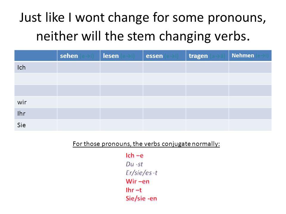 The stem changing verbs we see this chapter are… sehen (ei) lesen (ei) essen (ei) tragen (aä) nehmen (ei) Tragen-to wear or to carry, nehmen-to take
