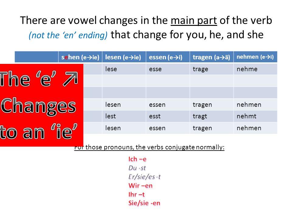 Just like I wont change for some pronouns, neither will the stem changing verbs. sehen (ei) lesen (ei) essen (ei) tragen (aä) nehmen (ei) Ichsehelesee