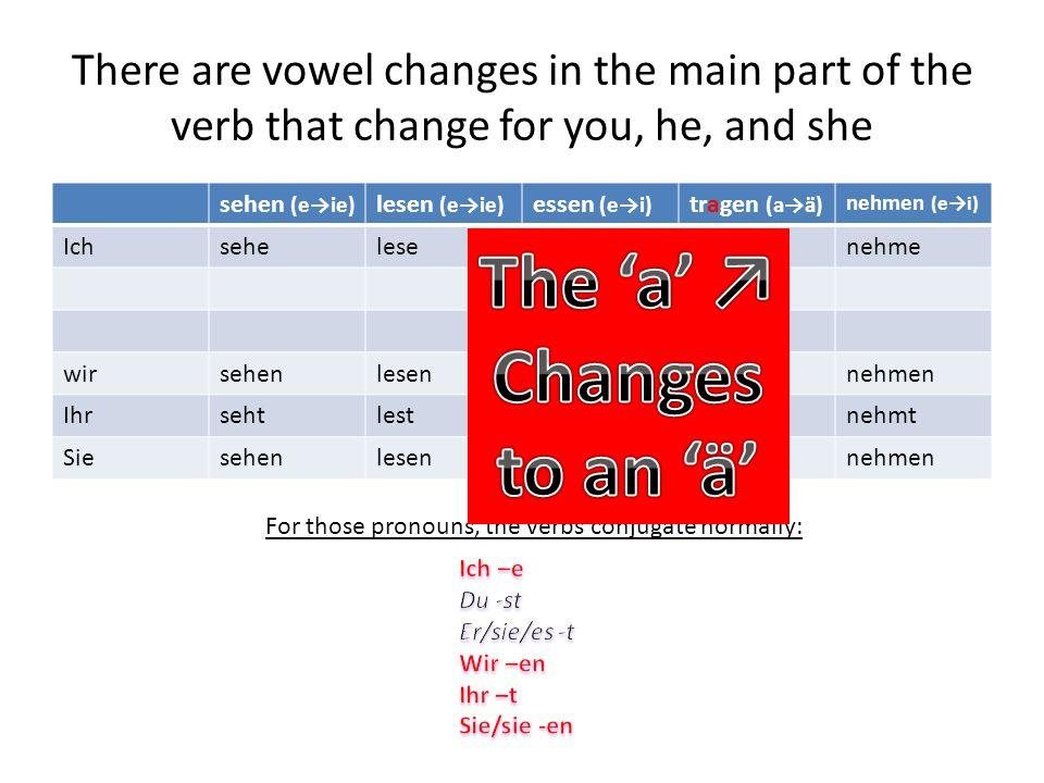 There are vowel changes in the main part of the verb that change for you, he, and she sehen (eie) lesen (eie) essen (ei) tragen (aä) nehmen (ei) Ichseheleseessetragenehme wirsehenlesenessentragennehmen Ihrsehtlestessttragtnehmt Siesehenlesenessentragennehmen For those pronouns, the verbs conjugate normally: