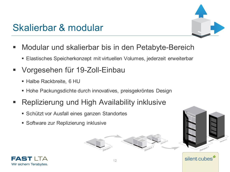 Skalierbar & modular Modular und skalierbar bis in den Petabyte-Bereich Elastisches Speicherkonzept mit virtuellen Volumes, jederzeit erweiterbar Vorg