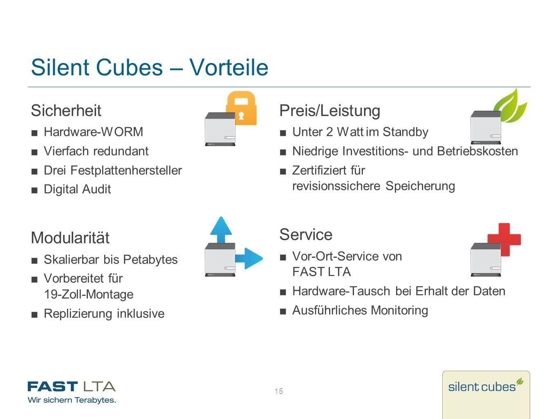 Silent Cubes – Vorteile Sicherheit Hardware-WORM Vierfach redundant Drei Festplattenhersteller Digital Audit Modularität Skalierbar bis Petabytes Vorb