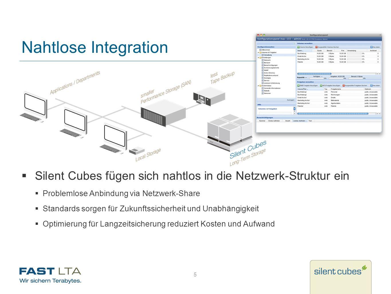 5 Nahtlose Integration Silent Cubes fügen sich nahtlos in die Netzwerk-Struktur ein Problemlose Anbindung via Netzwerk-Share Standards sorgen für Zuku