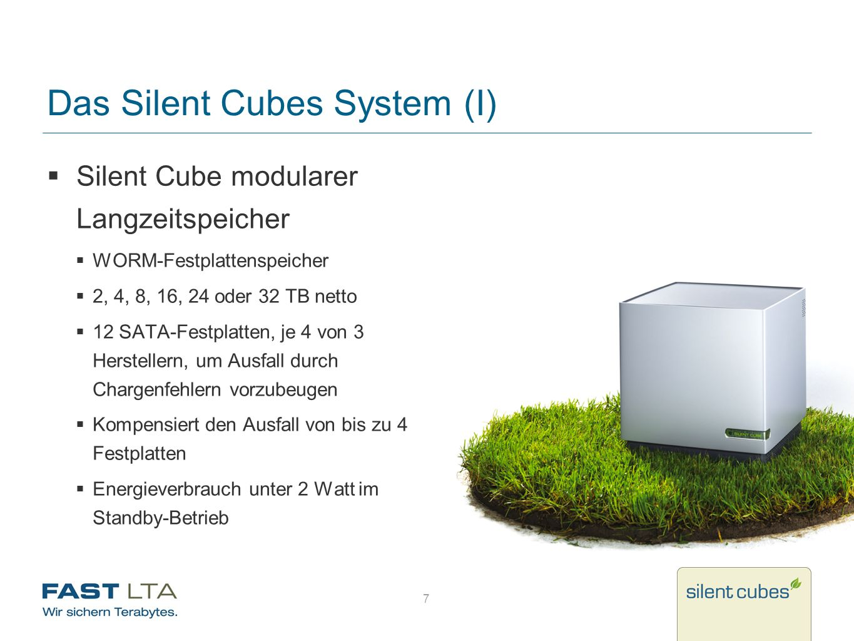 7 Das Silent Cubes System (I) Silent Cube modularer Langzeitspeicher WORM-Festplattenspeicher 2, 4, 8, 16, 24 oder 32 TB netto 12 SATA-Festplatten, je
