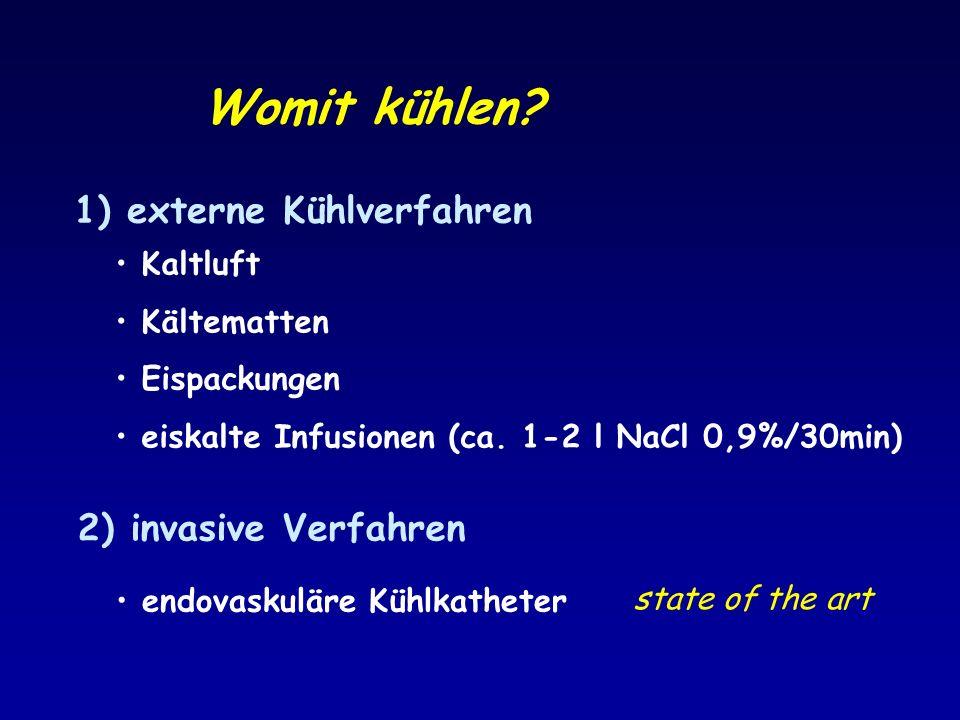 Womit kühlen? 1) externe Kühlverfahren 2) invasive Verfahren Kaltluft Kältematten Eispackungen eiskalte Infusionen (ca. 1-2 l NaCl 0,9%/30min) endovas