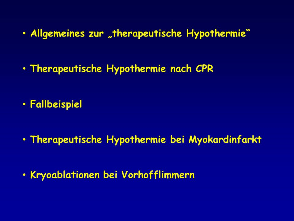 RAPID MI-ICE The Rapid Intravascular Cooling in Myocardial Infarction as Adjunctive to Percutaneous Coronary Intervention study (Safety & Feasibility study in man) 18 Patienten VW-STEMI Schmerz-Delay: <6 Stunden Schnelle Infusion 1-2 Liter 4°C NaCl Endovaskuläre Kühlung mit Philips InnerCool endovaskulärem System mit Accutrol Katheter, Beginn vor PCI, Kühlung bis 3 h nach PCI Herz MRI: Tag 4±2, infarct size/ myocardium at risk Primärer Endpunkt:Safety and Feasibility Sekundärer Endpunkt: Reduktion der Infarktgröße Götberg, Circ Cardiovasc Interv 2010