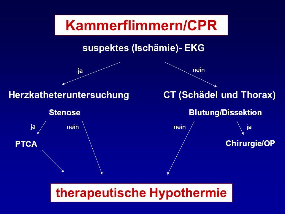 Kammerflimmern/CPR suspektes (Ischämie)- EKG Herzkatheteruntersuchung CT (Schädel und Thorax) Stenose PTCA Blutung/Dissektion Chirurgie/OP therapeutis
