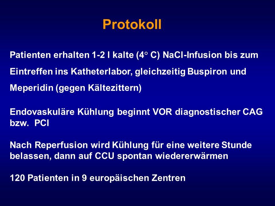 Protokoll Patienten erhalten 1-2 l kalte (4° C) NaCl-Infusion bis zum Eintreffen ins Katheterlabor, gleichzeitig Buspiron und Meperidin (gegen Kältezi