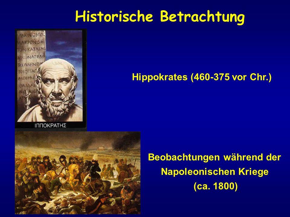 Hippokrates (460-375 vor Chr.) Beobachtungen während der Napoleonischen Kriege (ca. 1800) Historische Betrachtung
