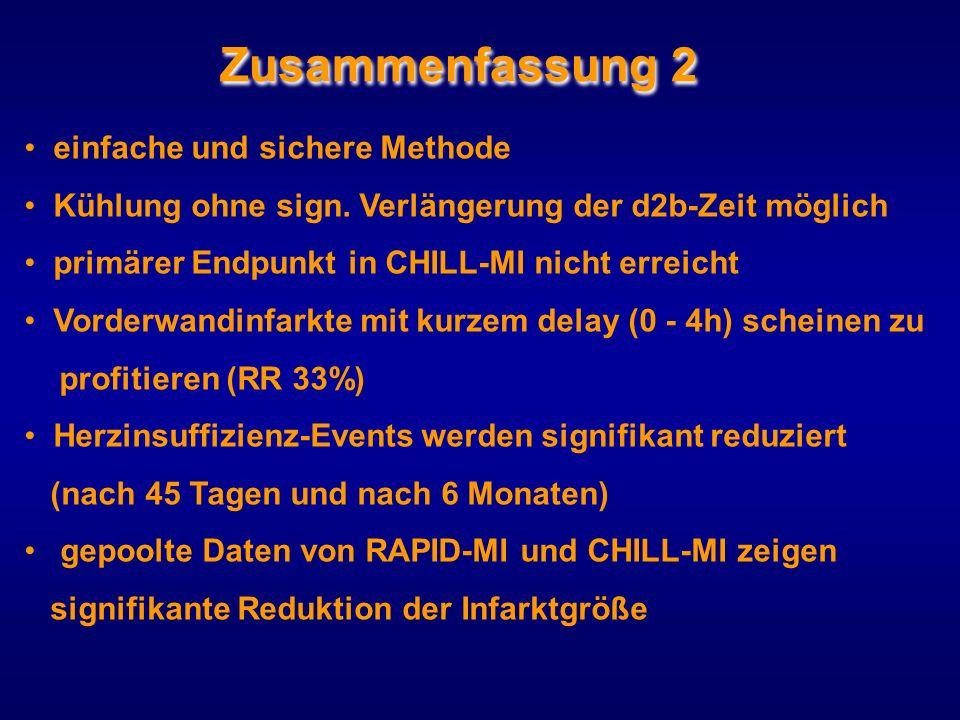 Zusammenfassung 2 einfache und sichere Methode Kühlung ohne sign. Verlängerung der d2b-Zeit möglich primärer Endpunkt in CHILL-MI nicht erreicht Vorde