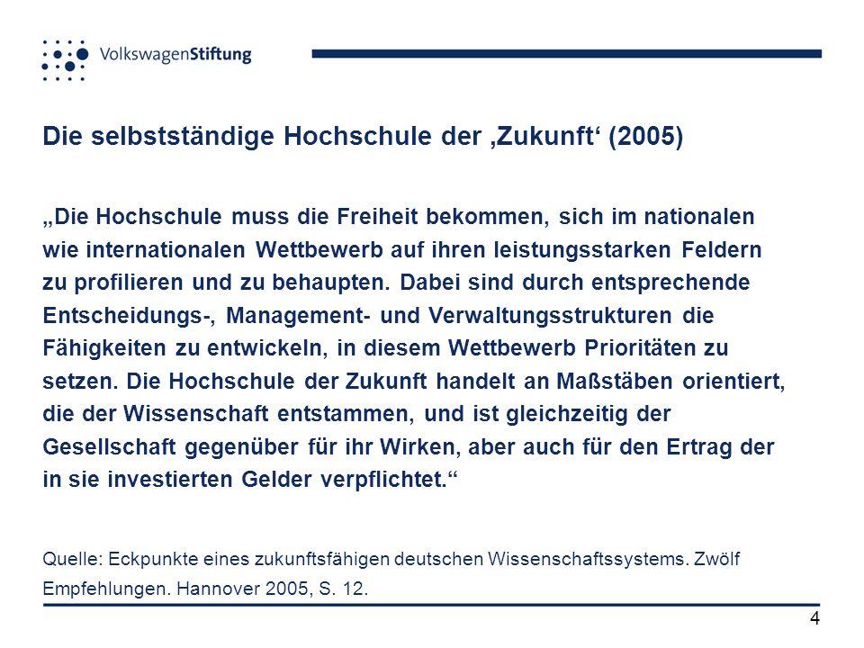4 Die selbstständige Hochschule der Zukunft (2005) Die Hochschule muss die Freiheit bekommen, sich im nationalen wie internationalen Wettbewerb auf ihren leistungsstarken Feldern zu profilieren und zu behaupten.