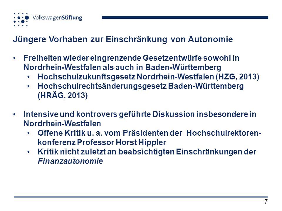 7 Freiheiten wieder eingrenzende Gesetzentwürfe sowohl in Nordrhein-Westfalen als auch in Baden-Württemberg Hochschulzukunftsgesetz Nordrhein-Westfalen (HZG, 2013) Hochschulrechtsänderungsgesetz Baden-Württemberg (HRÄG, 2013) Intensive und kontrovers geführte Diskussion insbesondere in Nordrhein-Westfalen Offene Kritik u.