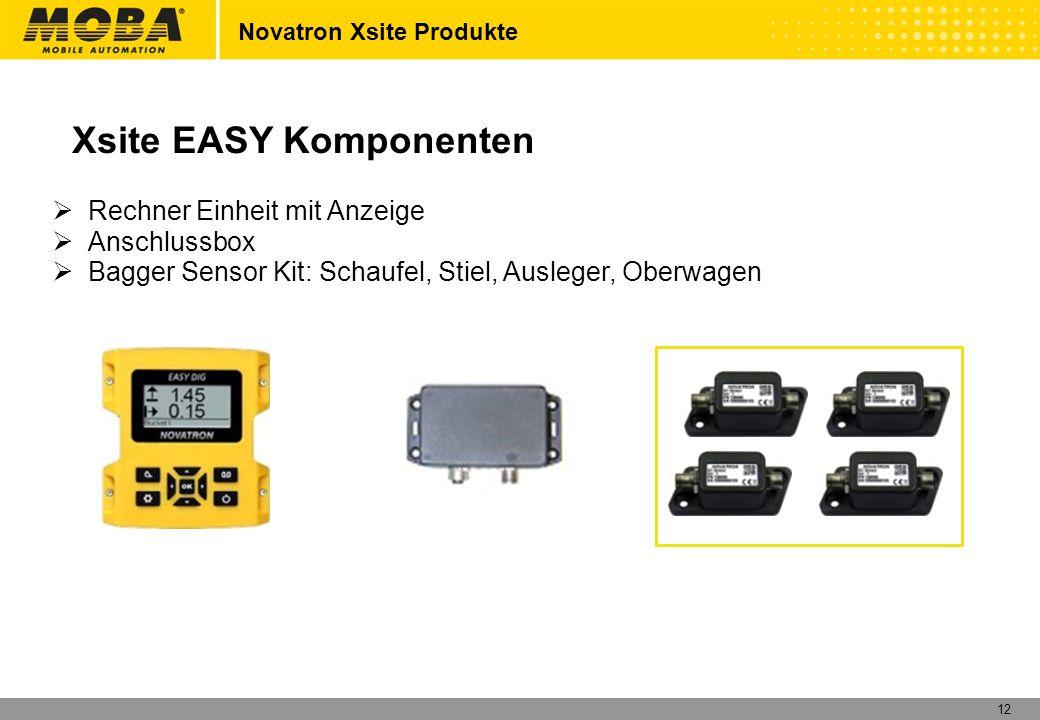 12 Rechner Einheit mit Anzeige Anschlussbox Bagger Sensor Kit: Schaufel, Stiel, Ausleger, Oberwagen Xsite EASY Komponenten Novatron Xsite Produkte