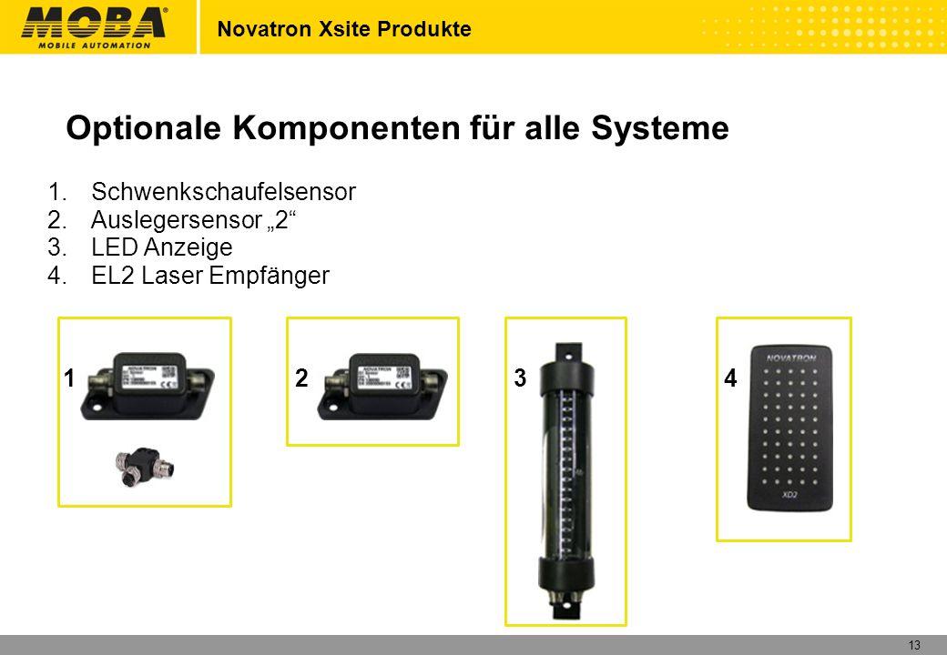 13 1.Schwenkschaufelsensor 2.Auslegersensor 2 3.LED Anzeige 4.EL2 Laser Empfänger Optionale Komponenten für alle Systeme Novatron Xsite Produkte 1234
