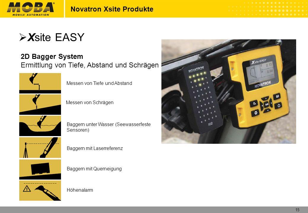 15 Novatron Xsite Produkte Xsite EASY 2D Bagger System Ermittlung von Tiefe, Abstand und Schrägen Messen von Tiefe und Abstand Messen von Schrägen Bag