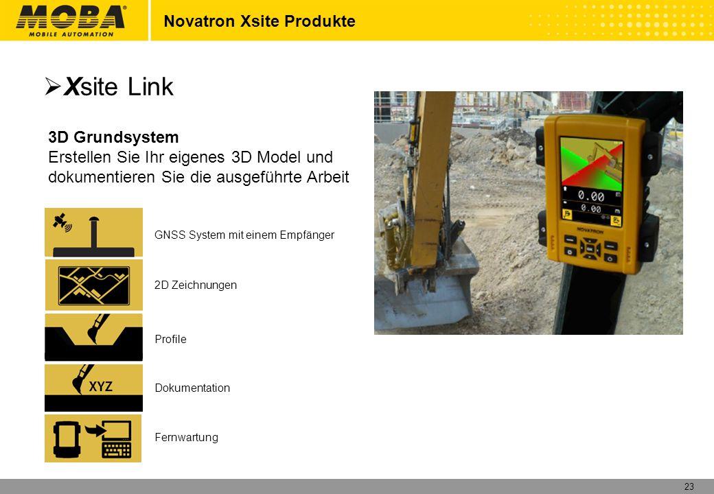 23 Novatron Xsite Produkte 3D Grundsystem Erstellen Sie Ihr eigenes 3D Model und dokumentieren Sie die ausgeführte Arbeit GNSS System mit einem Empfän