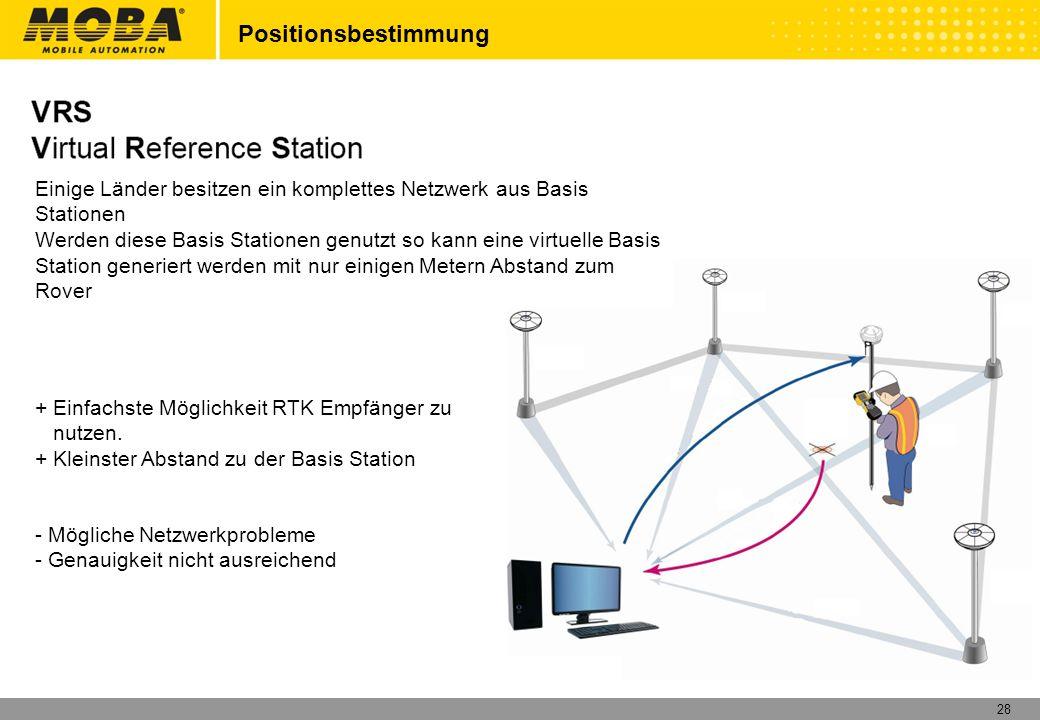 28 Positionsbestimmung Einige Länder besitzen ein komplettes Netzwerk aus Basis Stationen Werden diese Basis Stationen genutzt so kann eine virtuelle