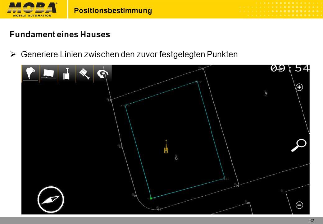 32 Positionsbestimmung Fundament eines Hauses Generiere Linien zwischen den zuvor festgelegten Punkten