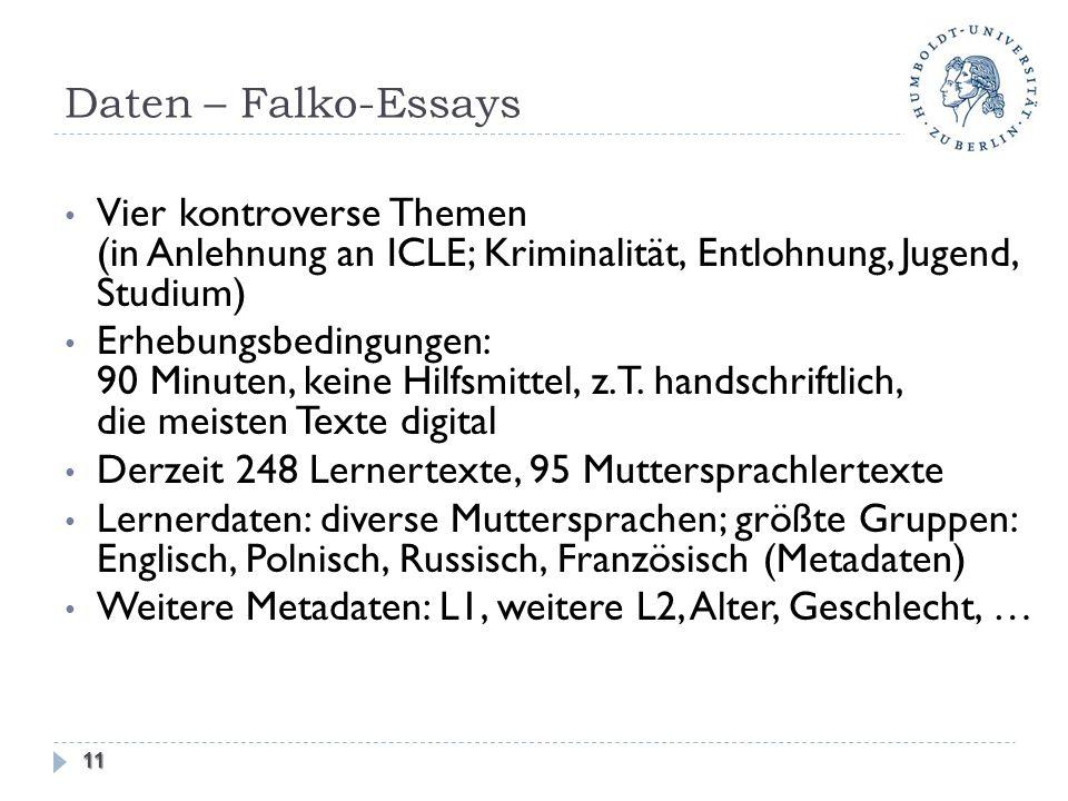 Daten – Falko-Essays Vier kontroverse Themen (in Anlehnung an ICLE; Kriminalität, Entlohnung, Jugend, Studium) Erhebungsbedingungen: 90 Minuten, keine Hilfsmittel, z.T.