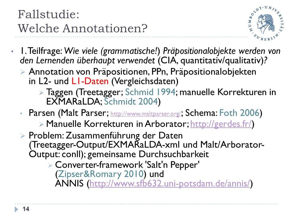 Fallstudie: Welche Annotationen? 1. Teilfrage: Wie viele (grammatische!) Präpositionalobjekte werden von den Lernenden überhaupt verwendet (CIA, quant