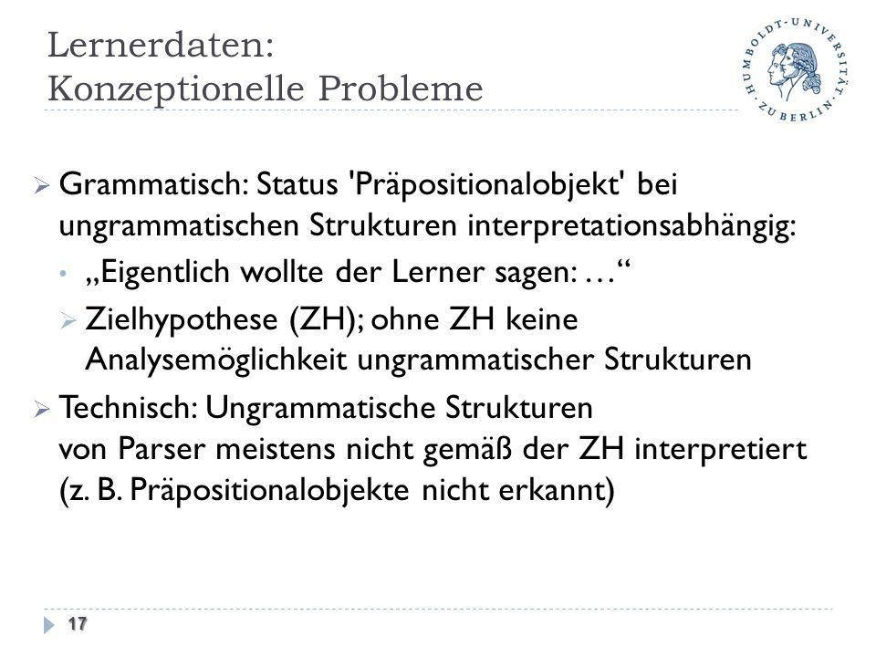 Grammatisch: Status 'Präpositionalobjekt' bei ungrammatischen Strukturen interpretationsabhängig: Eigentlich wollte der Lerner sagen: … Zielhypothese