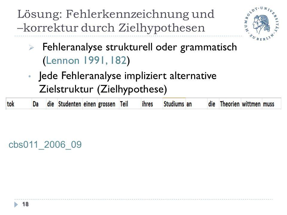 Lösung: Fehlerkennzeichnung und –korrektur durch Zielhypothesen 18 cbs011_2006_09 Fehleranalyse strukturell oder grammatisch (Lennon 1991, 182) Jede Fehleranalyse impliziert alternative Zielstruktur (Zielhypothese)
