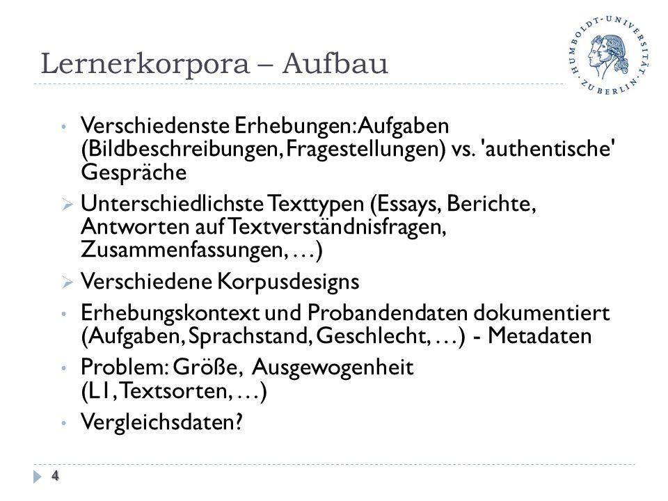 Lernerkorpora – Aufbau Verschiedenste Erhebungen: Aufgaben (Bildbeschreibungen, Fragestellungen) vs. 'authentische' Gespräche Unterschiedlichste Textt