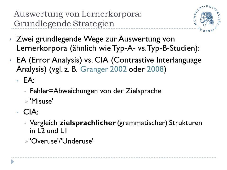 Auswertung von Lernerkorpora: Grundlegende Strategien Zwei grundlegende Wege zur Auswertung von Lernerkorpora (ähnlich wie Typ-A- vs. Typ-B-Studien):