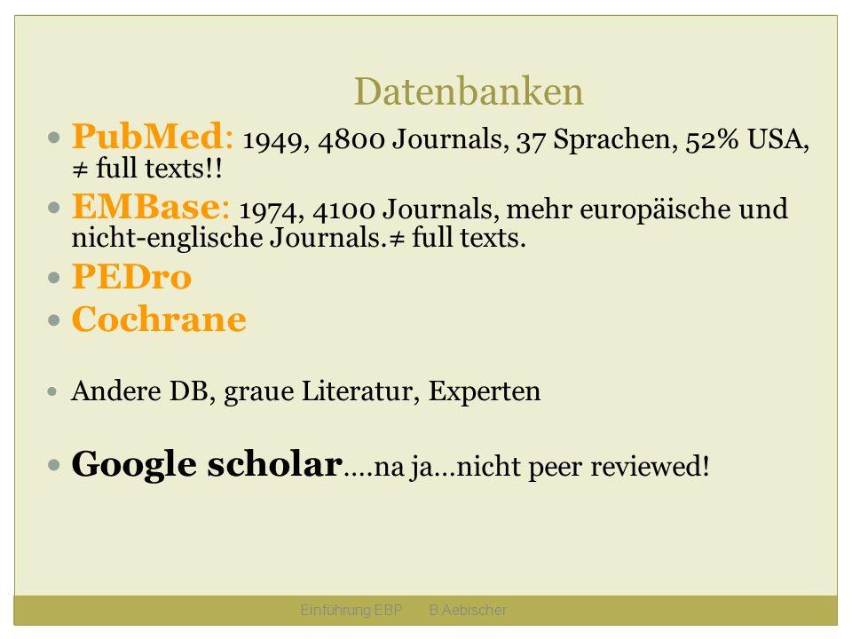 Datenbanken PubMed: 1949, 4800 Journals, 37 Sprachen, 52% USA, full texts!! EMBase: 1974, 4100 Journals, mehr europäische und nicht-englische Journals