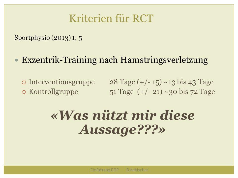 Einführung EBP B.Aebischer Kriterien für RCT Sportphysio (2013) 1; 5 Exzentrik-Training nach Hamstringsverletzung Interventionsgruppe28 Tage (+/- 15)