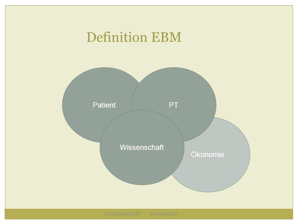 Ökonomie Einführung EBP B.Aebischer Definition EBM PatientPT Wissenschaft