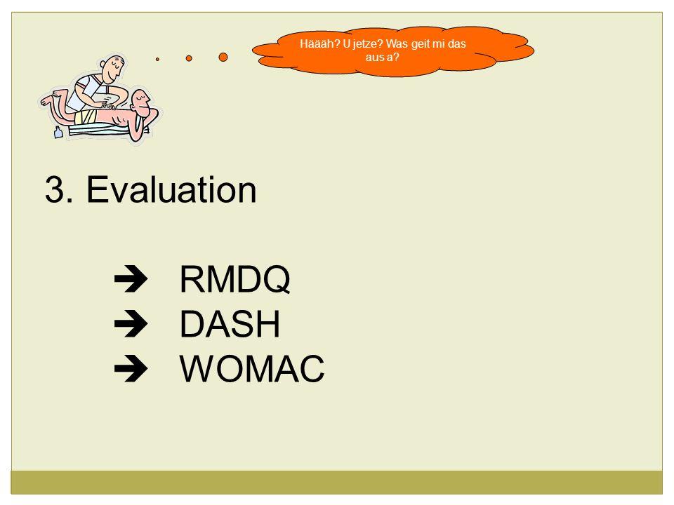 Häääh? U jetze? Was geit mi das aus a? 3. Evaluation RMDQ DASH WOMAC