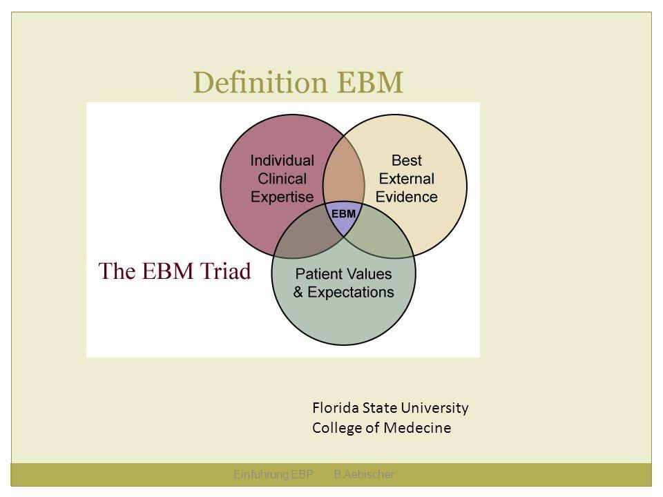 Einführung EBP B.Aebischer Definition EBM Florida State University College of Medecine