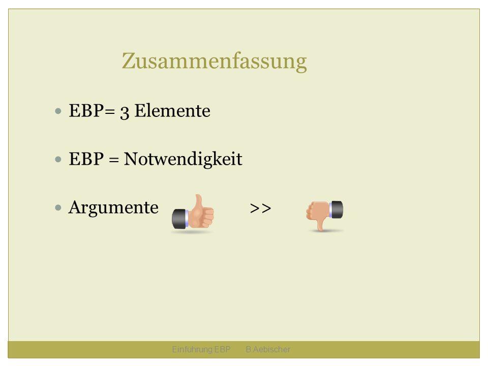 Einführung EBP B.Aebischer Zusammenfassung EBP= 3 Elemente EBP = Notwendigkeit Argumente >>