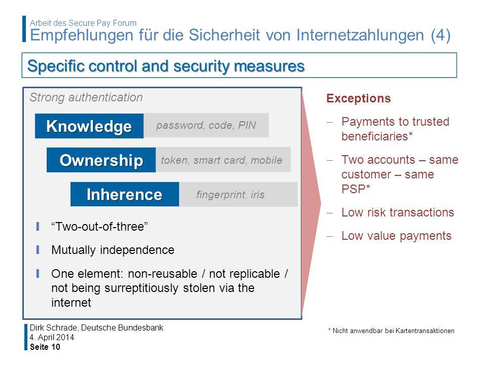 4. April 2014 Seite 10 Dirk Schrade, Deutsche Bundesbank Arbeit des Secure Pay Forum Empfehlungen für die Sicherheit von Internetzahlungen (4) Strong